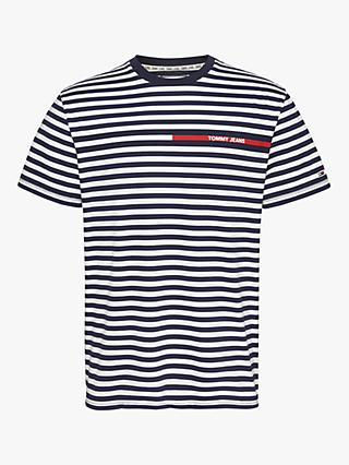 Tommy Jeans Organic Cotton Stripe T-Shirt, Twilight/Navy