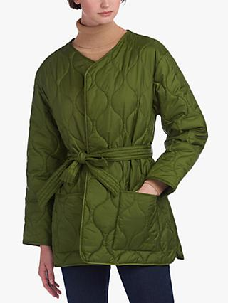 Barbour by ALEXACHUNG Martha Cropped Quilted Jacket, Vintage Green