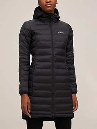Columbia Lake 22 Down Women's Long Hooded Jacket, Black