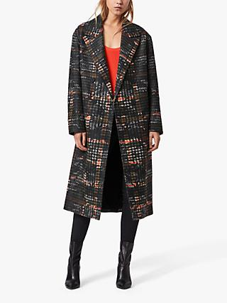 AllSaints Lottie Camo Check Longline Coat, Black/Orange