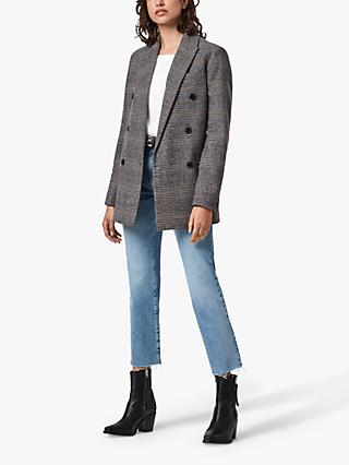 AllSaints Astrid Wool Blend Check Blazer, Grey/Yellow