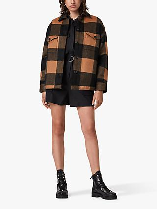 AllSaints Luella Large Check Jacket, Brown/Black