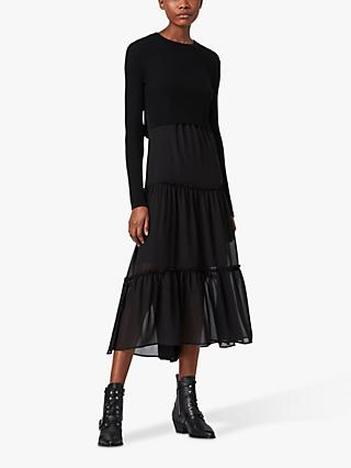 AllSaints Tilly 2-in-1 Dress, Black