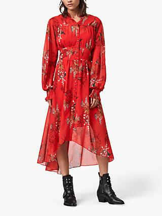 AllSaints Leonie Melisma Floral Midi Dress, Red
