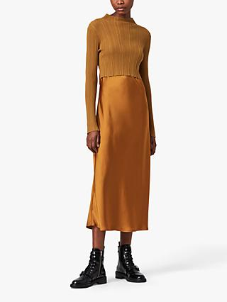AllSaints Karla 2-in-1 Slip Dress, Gold