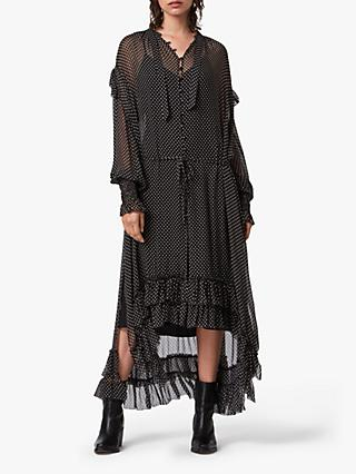 AllSaints Lara Polka Dot Ruffle Midi Dress
