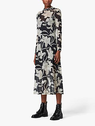 AllSaints Hanna Jardin Floral Print Dress, Black/White