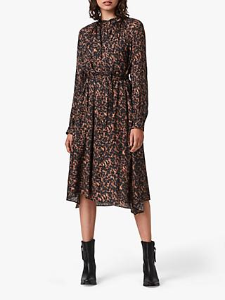 AllSaints Nina Torto Midi Dress, Brown