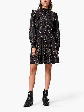 AllSaints Aislyn Floral Print Mini Dress, Black