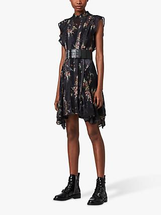AllSaints Fleur Melisma Print Dress, Black