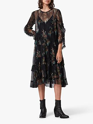 AllSaints Macey Melisma Floral Midi Dress, Black