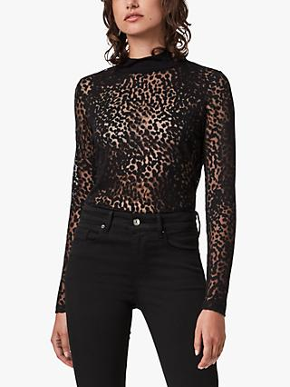 AllSaints Bela Animal Spot Print Bodysuit, Black