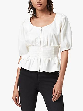 AllSaints Elektra Smocked Waistband Top, White