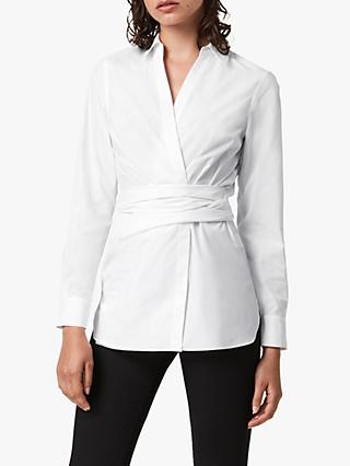 AllSaints Alicia Wrap Detail Back Tie Shirt, Chalk White