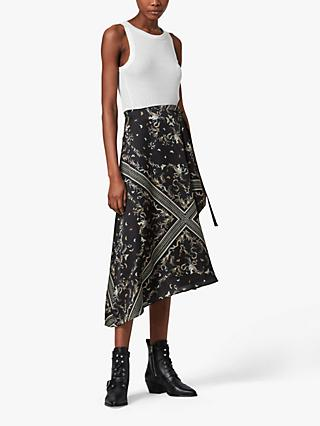 AllSaints Maia Assam Abstract Print Silk Blend Skirt, Black