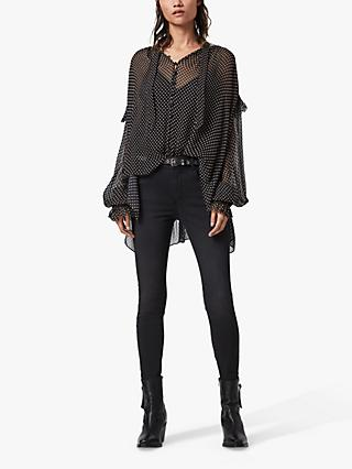 AllSaints Lara Polka Dot Ruffle Semi Sheer Blouse, Black