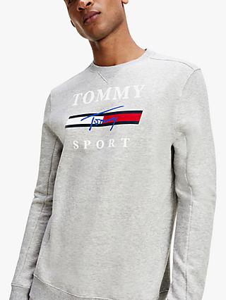 Tommy Sport Graphic Logo Crew Neck Fleece Sweatshirt, Grey Heather