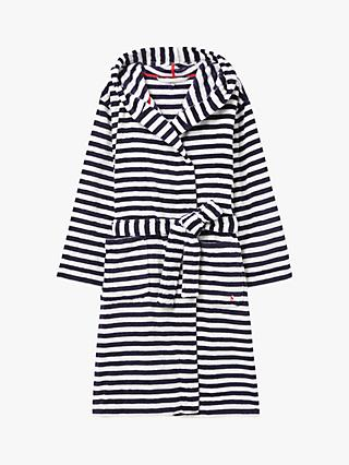 Joules Rita Stripe Fleece Dressing Gown, Blue/Cream