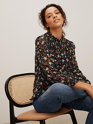 John Lewis & Partners Ditsy Floral High Neck Blouse, Pink/Multi