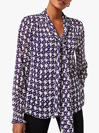 Phase Eight Rilynn Tie Neck Abstract Blouse, Purple/Ivory