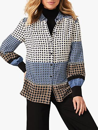 Phase Eight Wren Spot Blouse, Stone/Blue