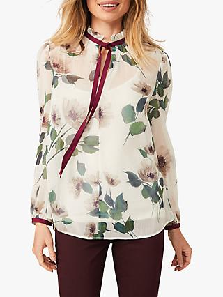 Phase Eight Posy Tie Neck Floral Blouse, Ivory/Plum