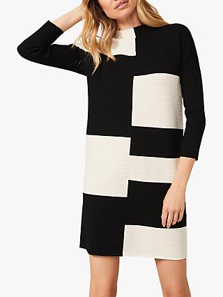 Phase Eight Severine Colourblock Knit Dress, Black/Ivory