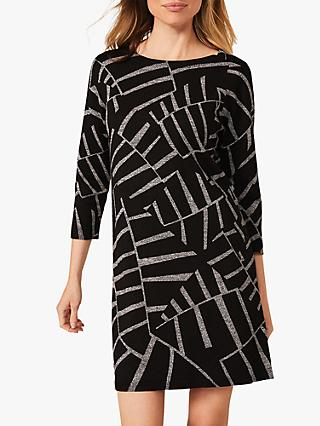 Phase Eight Marthe Knit Abstract Mini Dress, Black