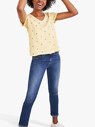 White Stuff Summer Spot Embroidered Tee, Yellow