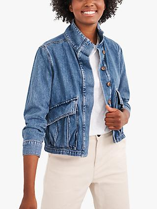 White Stuff Slouchy Fit Denim Jacket, Mid Blue