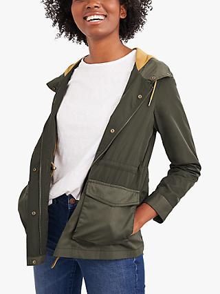 White Stuff Carey Hooded Jacket, Dark Green