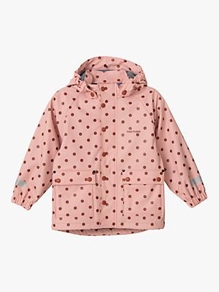 Tretorn Children's Wings Fleece Waterproof Rain Coat, Pink Polka Dot
