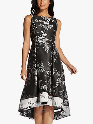 Adrianna Papell Brocade Floral Midi Dress, Black/Silver