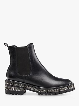 Dune Panorama Leather Glitter Sole Chelsea Boots, Black