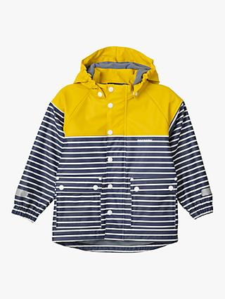 Tretorn Children's Wings Fleece Waterproof Rain Coat, Yellow/Navy Stripe
