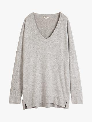 hush Belle V-Neck Top, Grey Marl