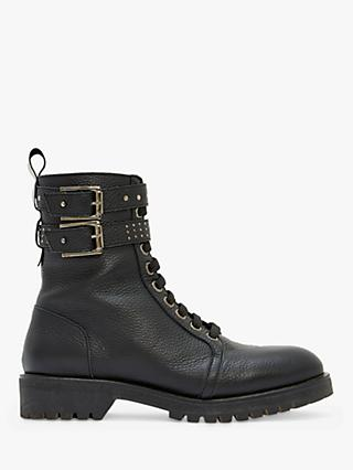 Mint Velvet Brooke Leather Biker Boots, Black