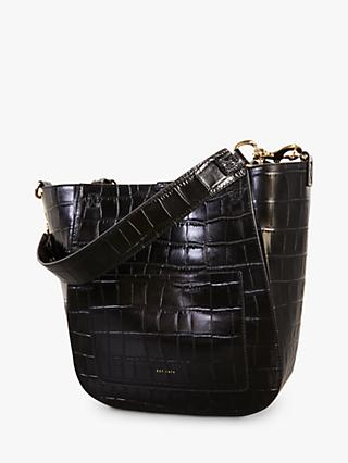 Jigsaw Warwick Leather Croc Effect Shoulder Bag, Black