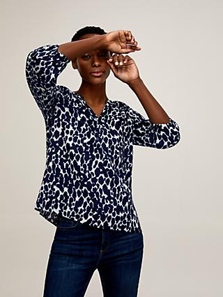 John Lewis & Partners Lavinia Linen Animal Smock Top, Blue
