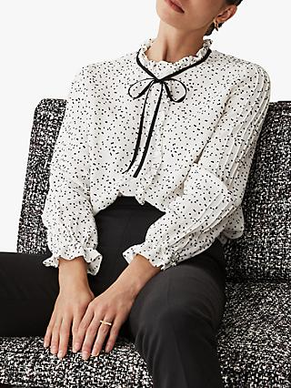 The Fold Ennerdale Spot Blouse, White/Black