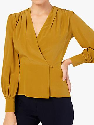 The Fold Montmartre Silk Wrap Blouse, Yellow