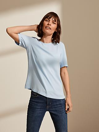 John Lewis & Partners Zip Back Top, Light Blue