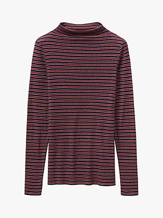 Toast Stripe Wool Tencel T-Shirt, Cherry Red/Denim