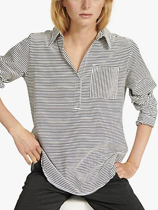 NRBY Indie Jersey Stripe Shirt, Ivory/Multi