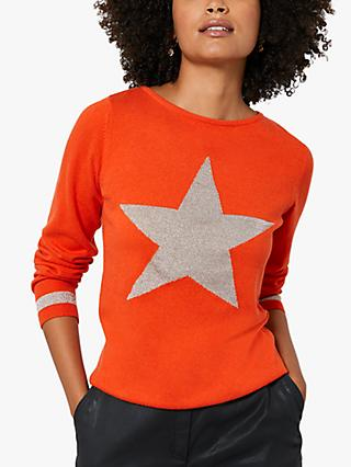 Mint Velvet Metallic Star Jumper, Orange