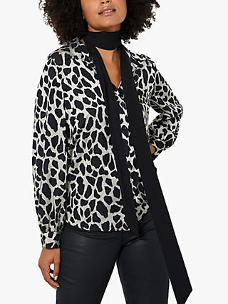 Mint Velvet Burnout Animal Print Shirt, Black/White