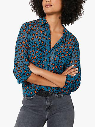 Mint Velvet Charlie Leopard Print Shirt, Teal/Orange
