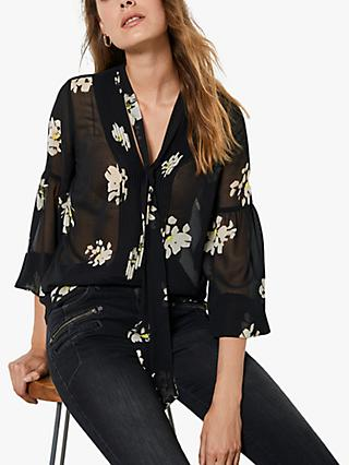 Mint Velvet Clara Floral Print Semi Sheer Blouse, Black/Yellow