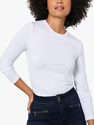 Mint Velvet Long Sleeved T-Shirt, White