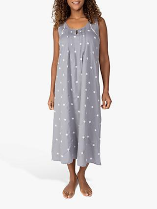 Nora Rose by Cyberjammies Embroidered Spot Nightdress, Grey